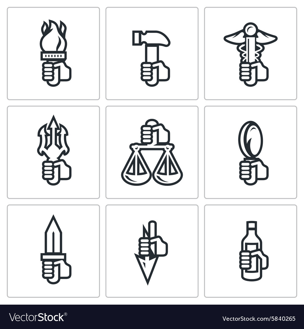 Symbols Of The Gods In Greek Mythology Icons Set Vector Image