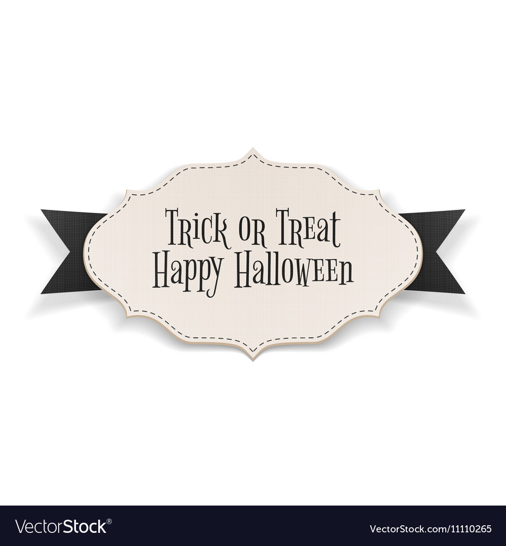Trick or Treat Text on realistic Halloween Banner vector image