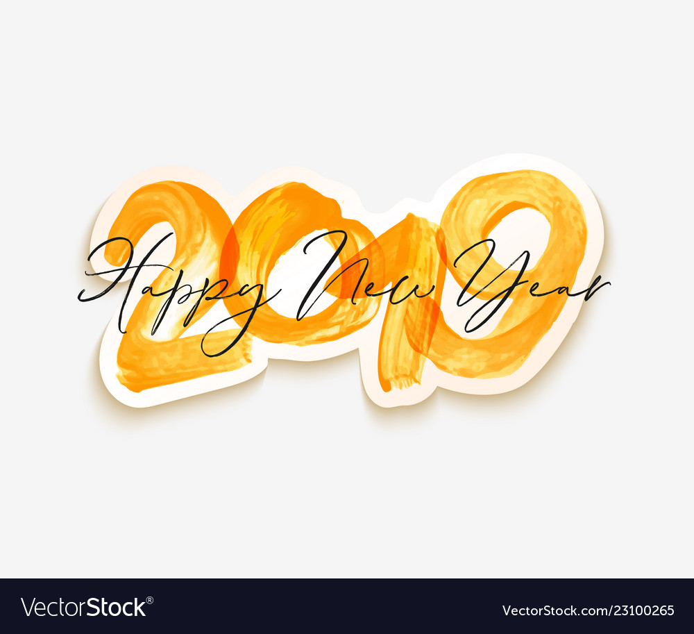 Yellow watercolor happy new year brush lettering