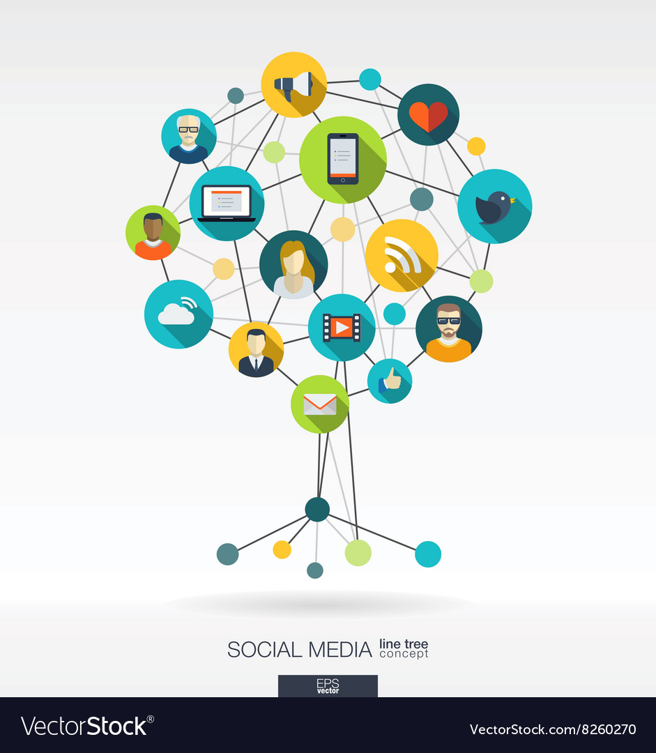 Abstract social media background Growth tree