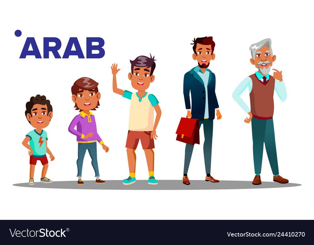 Arab muslim male set people person