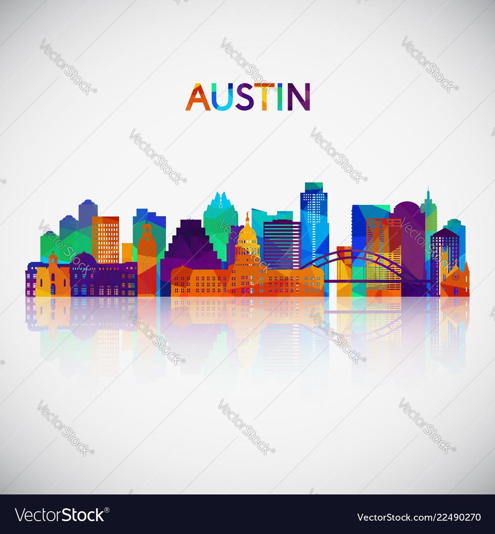 Austin skyline silhouette in colorful geometric