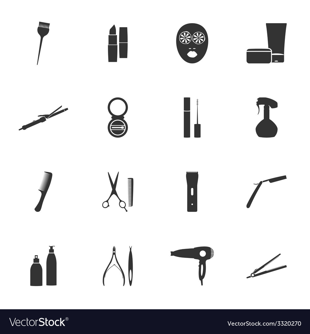 Beauty salon silhouettes flat icons set vector image