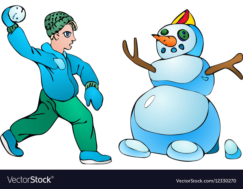 Boy with snowball and snowman