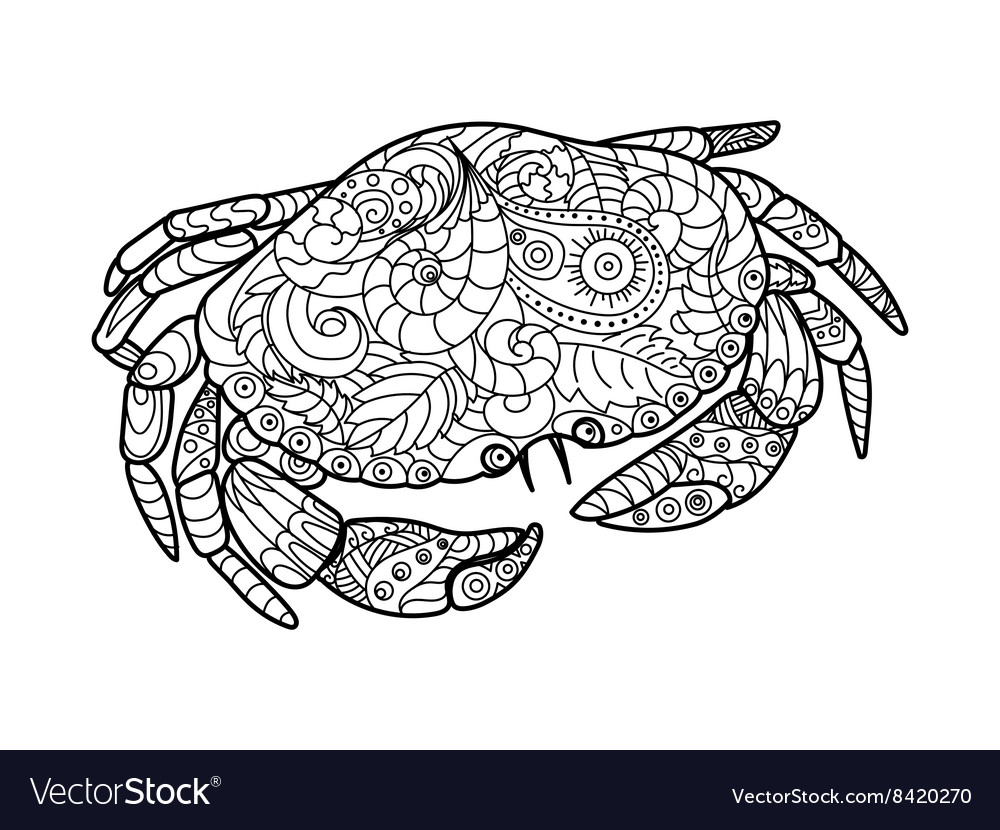 - Crab Coloring Book For Adults Royalty Free Vector Image