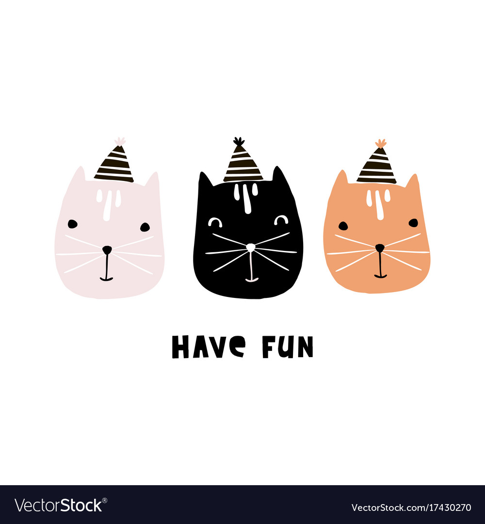 Cute cats with party hats hand drawn