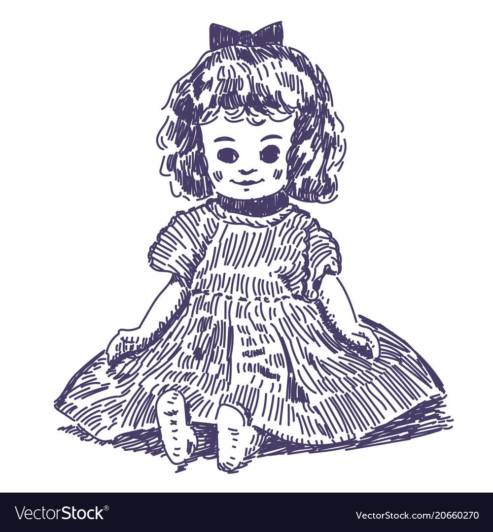 Doll hand drawn