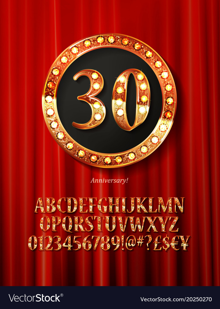 Golden alphabet with show lamps isolated