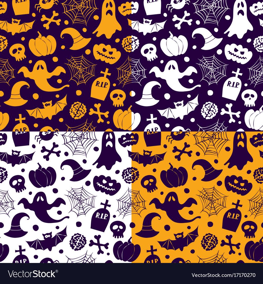 Halloween seamless patterns icons