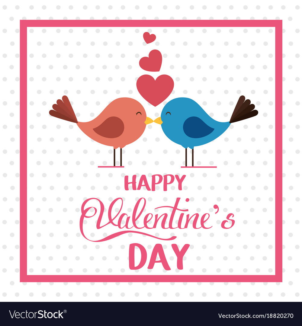 Happy valentines card with cute bird couple in