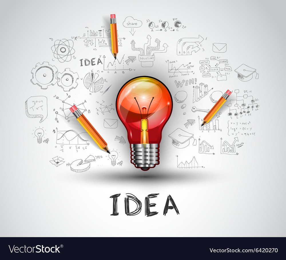 Idea concept with light bulb and doodle sketches