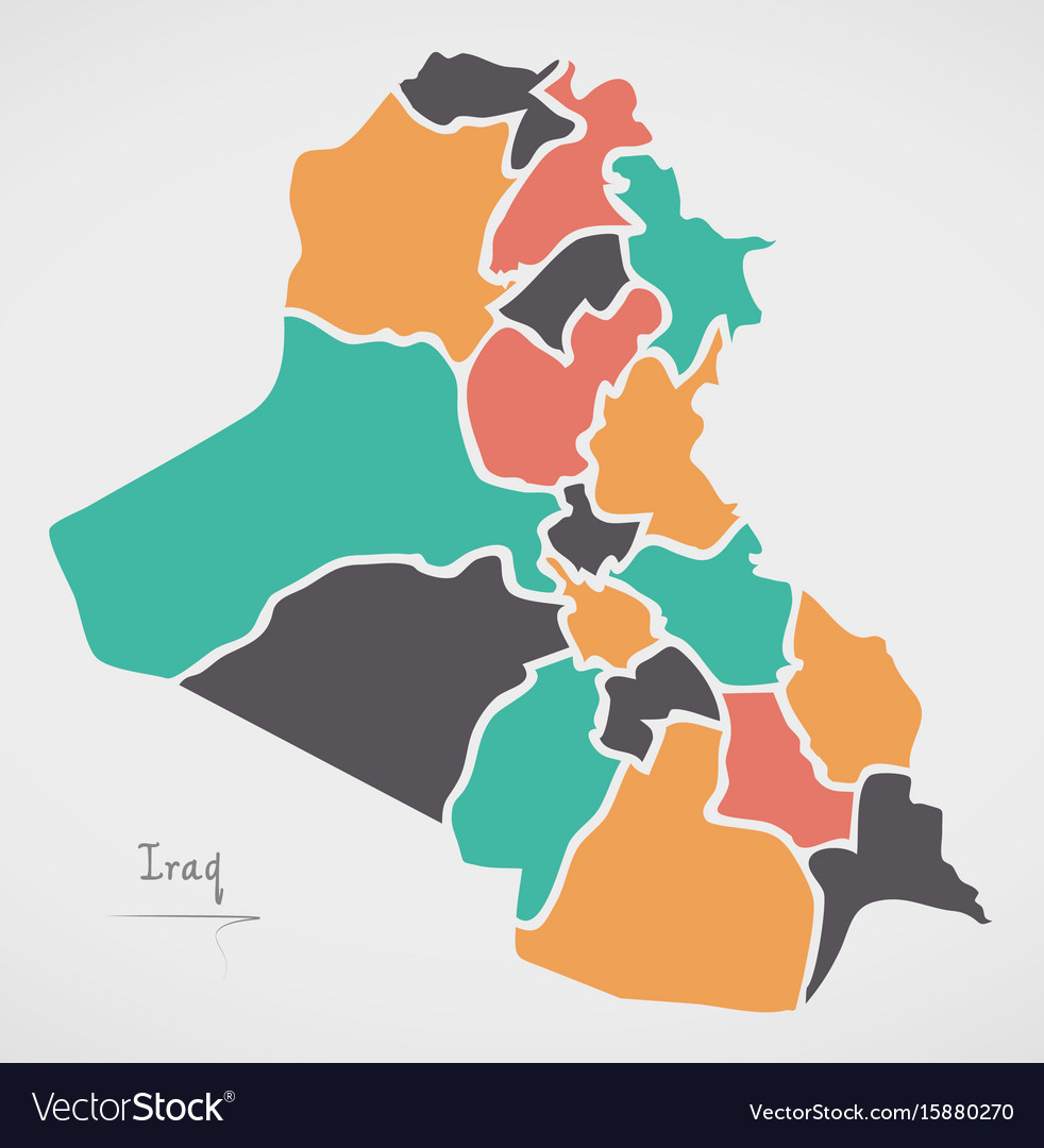 Iraq map with states and modern round shapes vector image