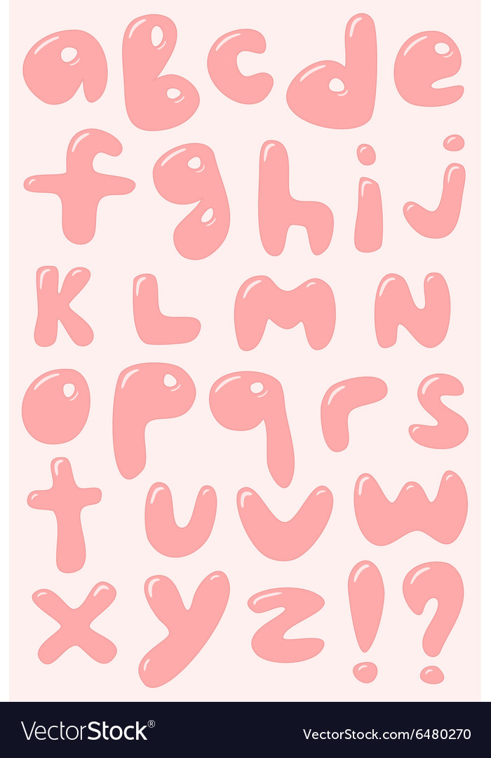 Pink bubble shaped lower case alphabet