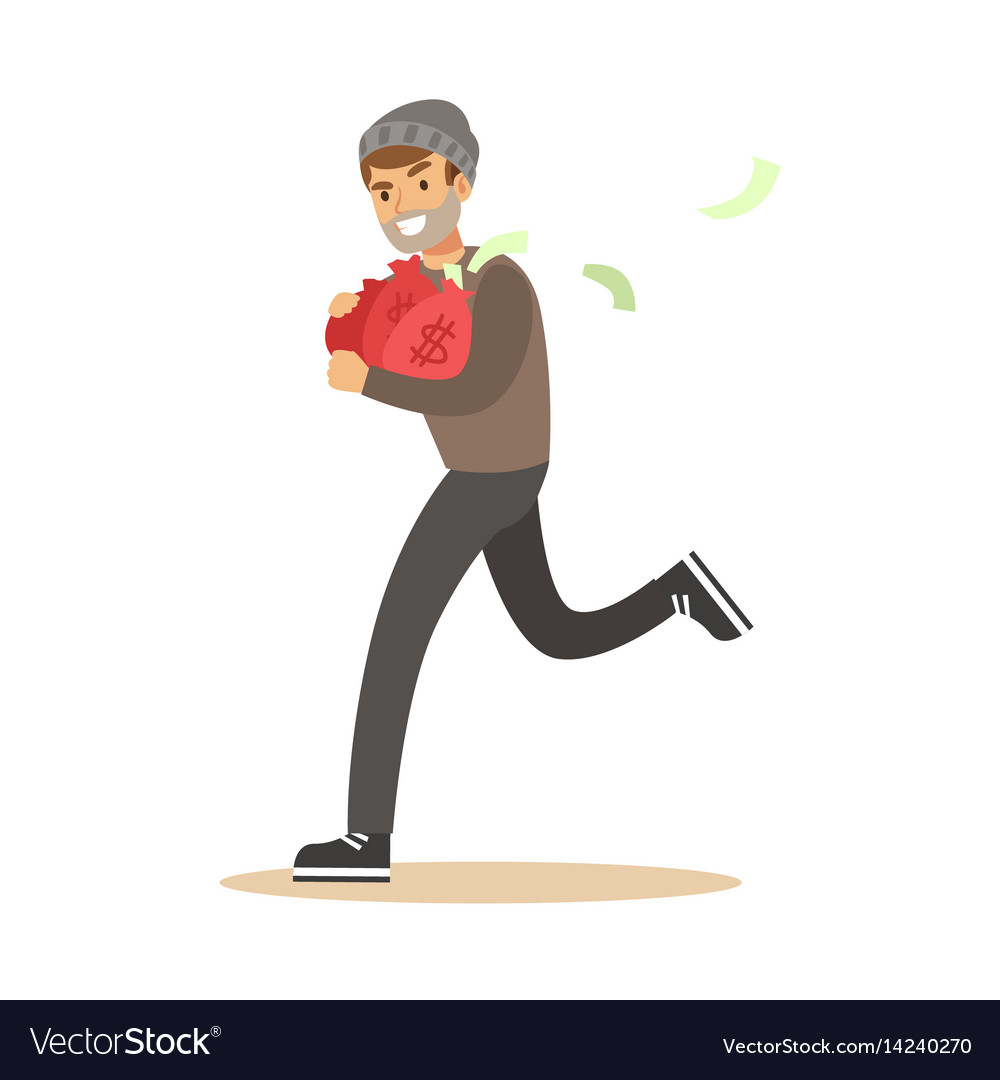 Robber in mask running with red money bags