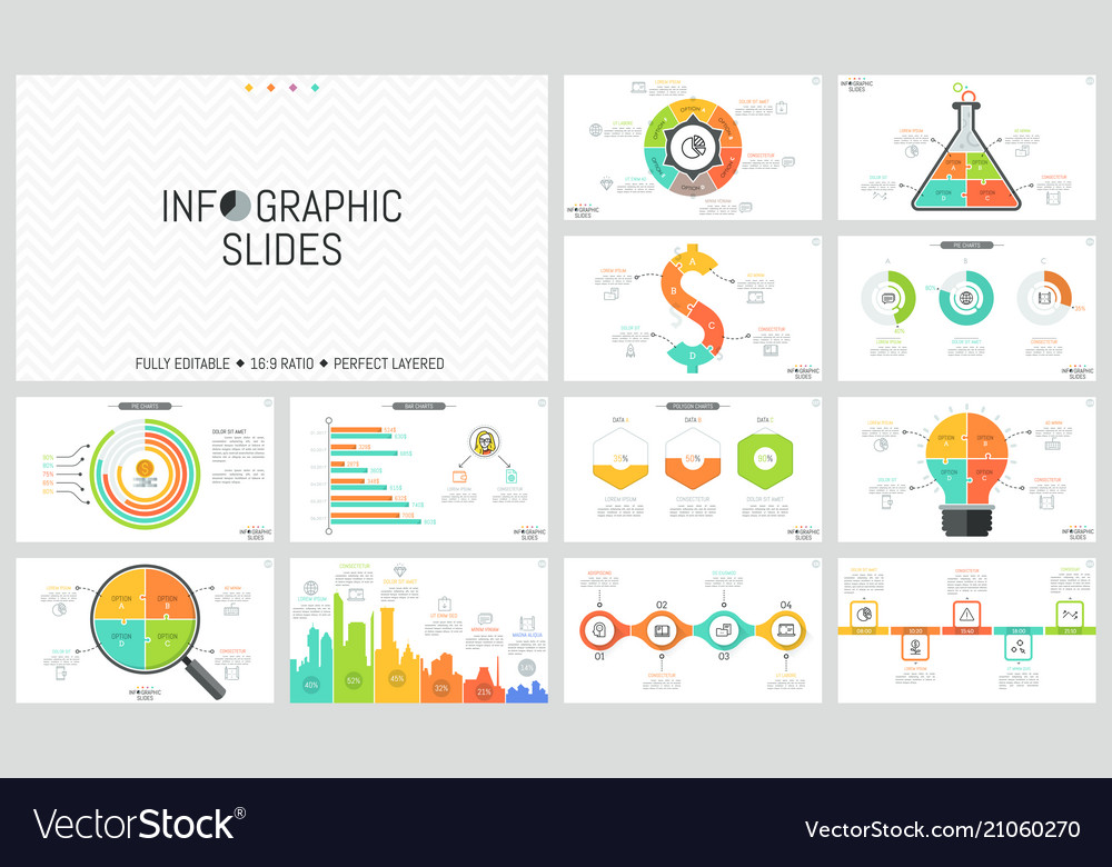 Set of minimal infographic design layouts pie and