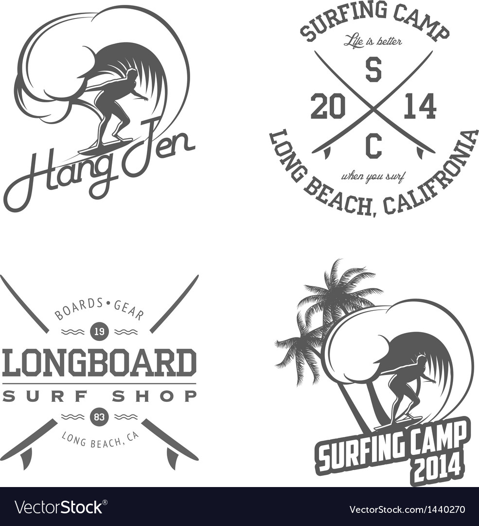 Set of vintage surfing labels and badges vector image