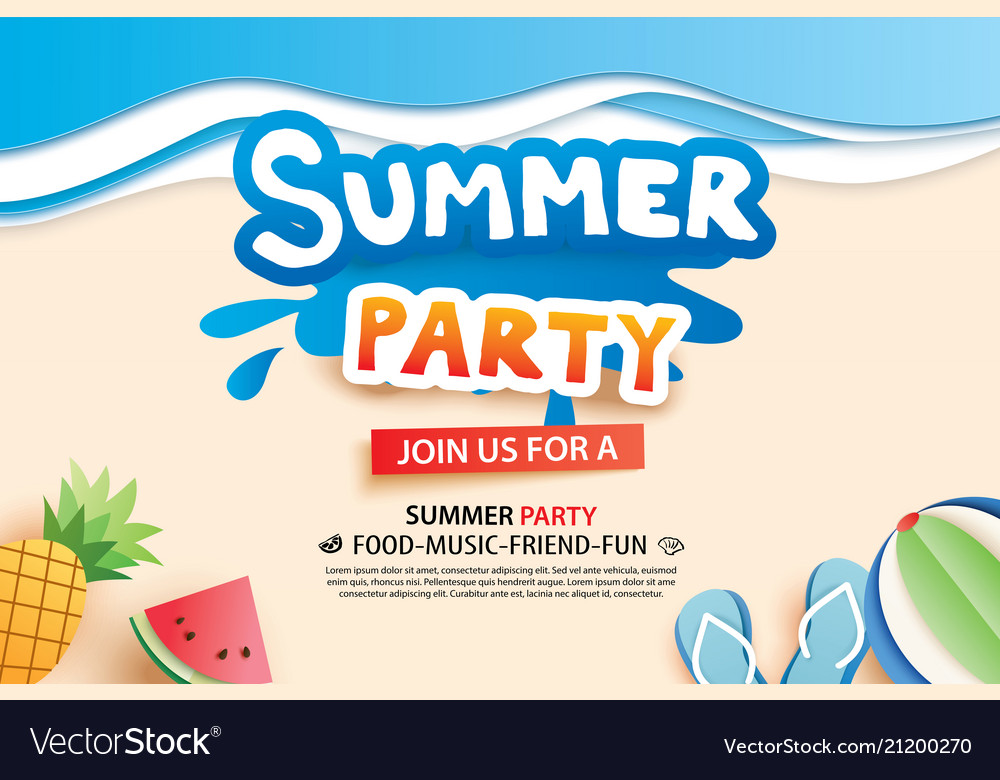 Summer beach party with paper cut symbol and icon