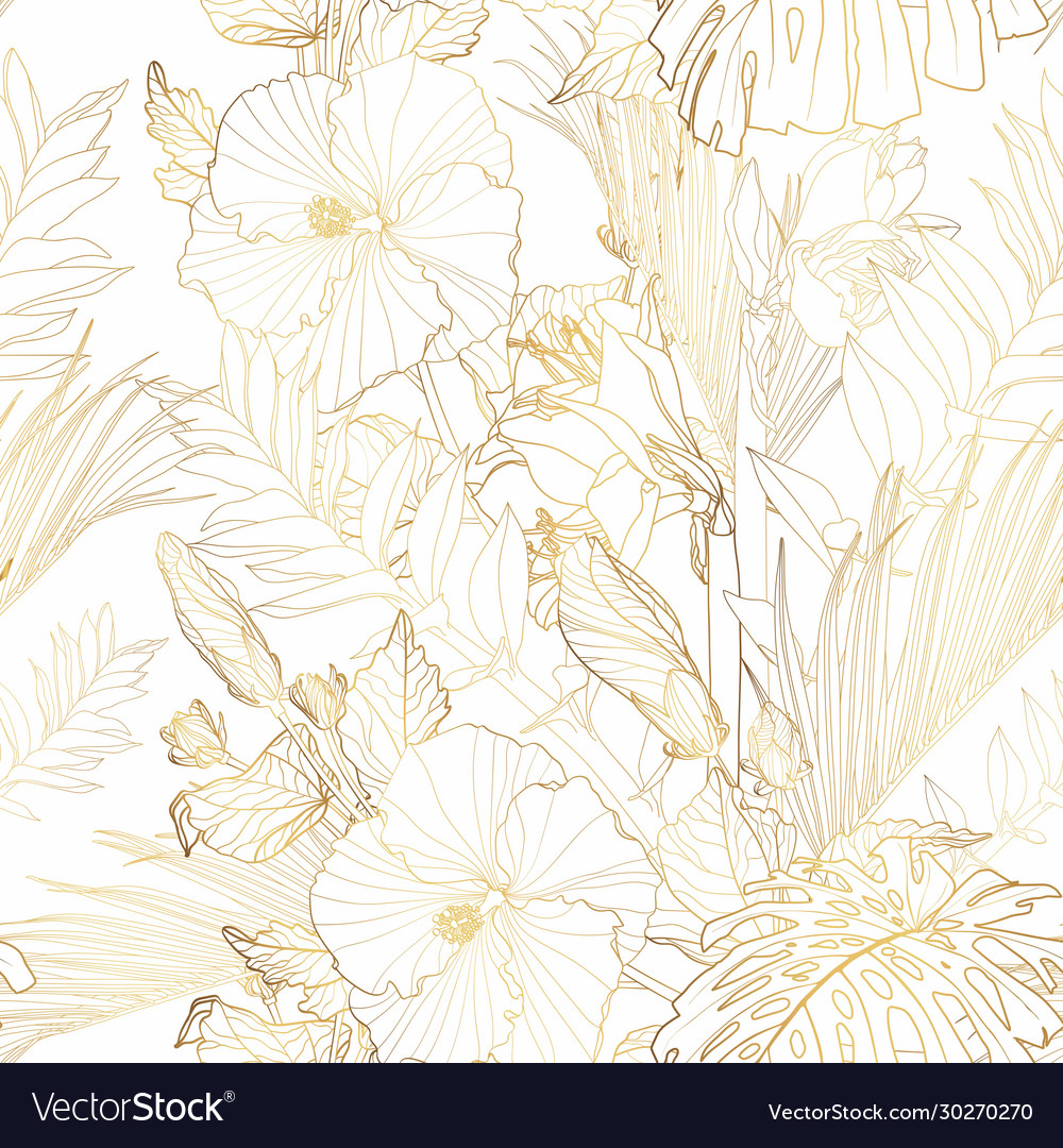 Tropical exotic floral golden line palm leaves