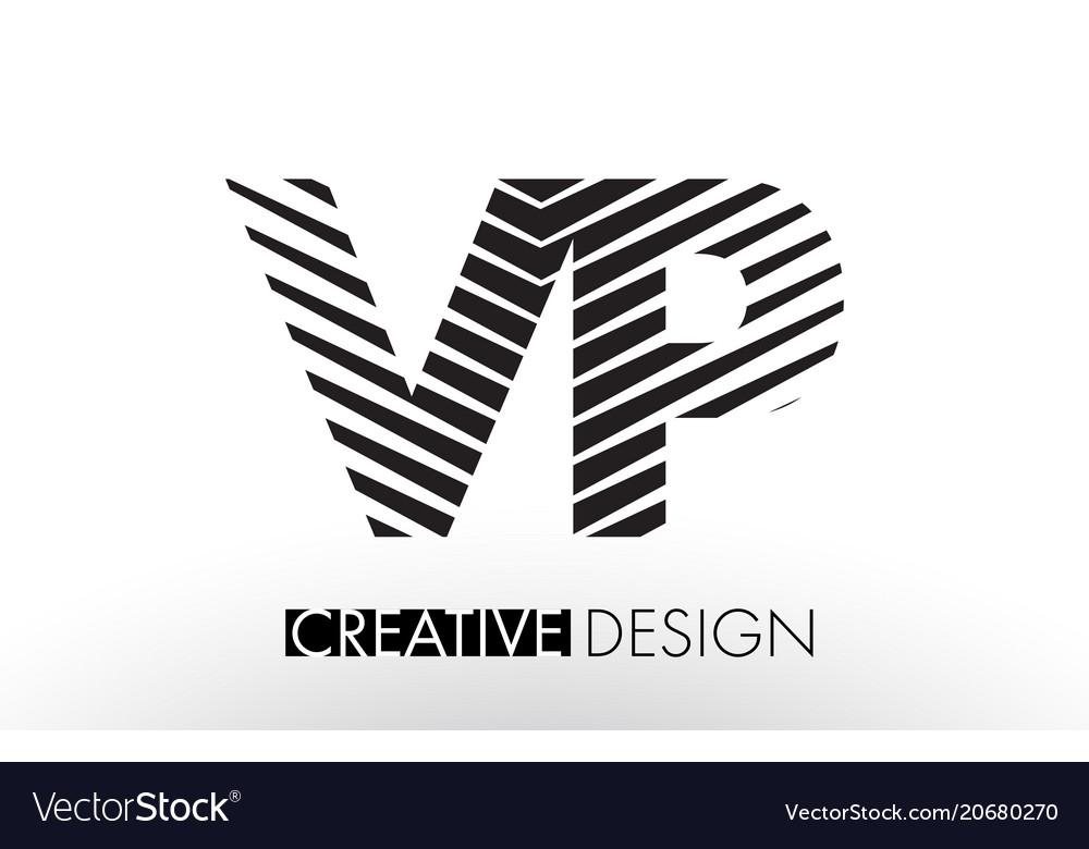 Vp v p lines letter design with creative elegant