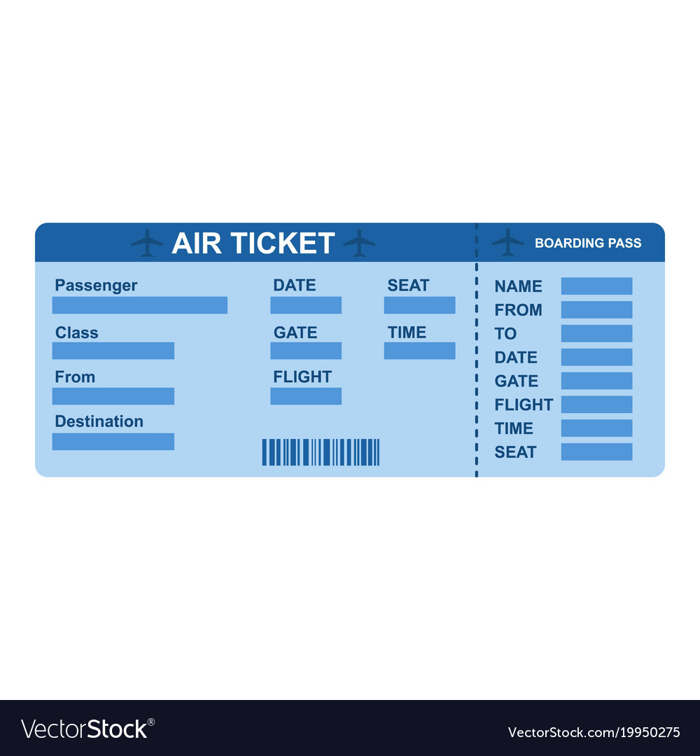 Air Ticket Icon Flat Style Vector Image