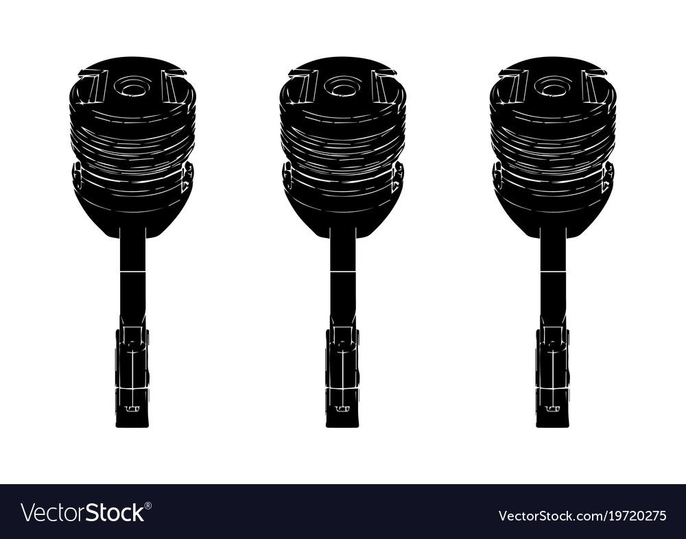 Black piston on white vector image