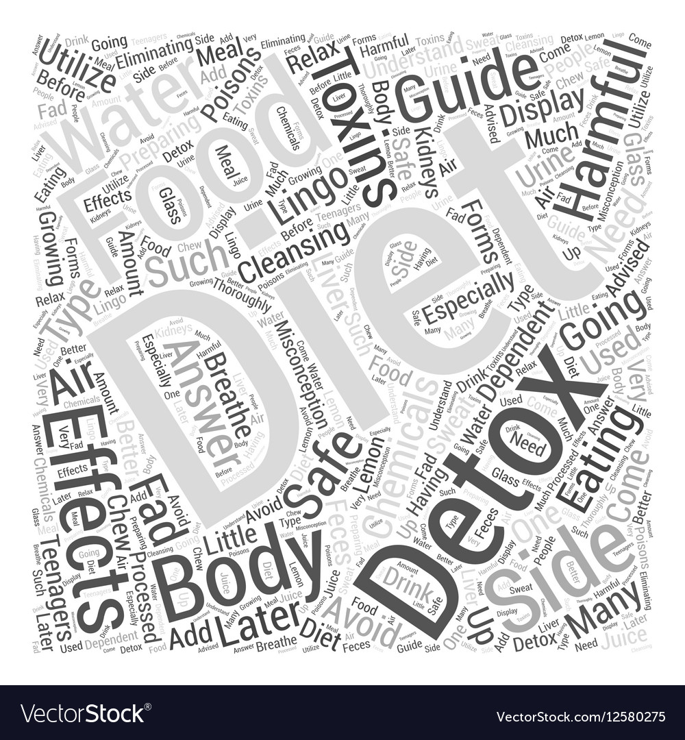 Body cleansing detox diet guide when Word Cloud vector image