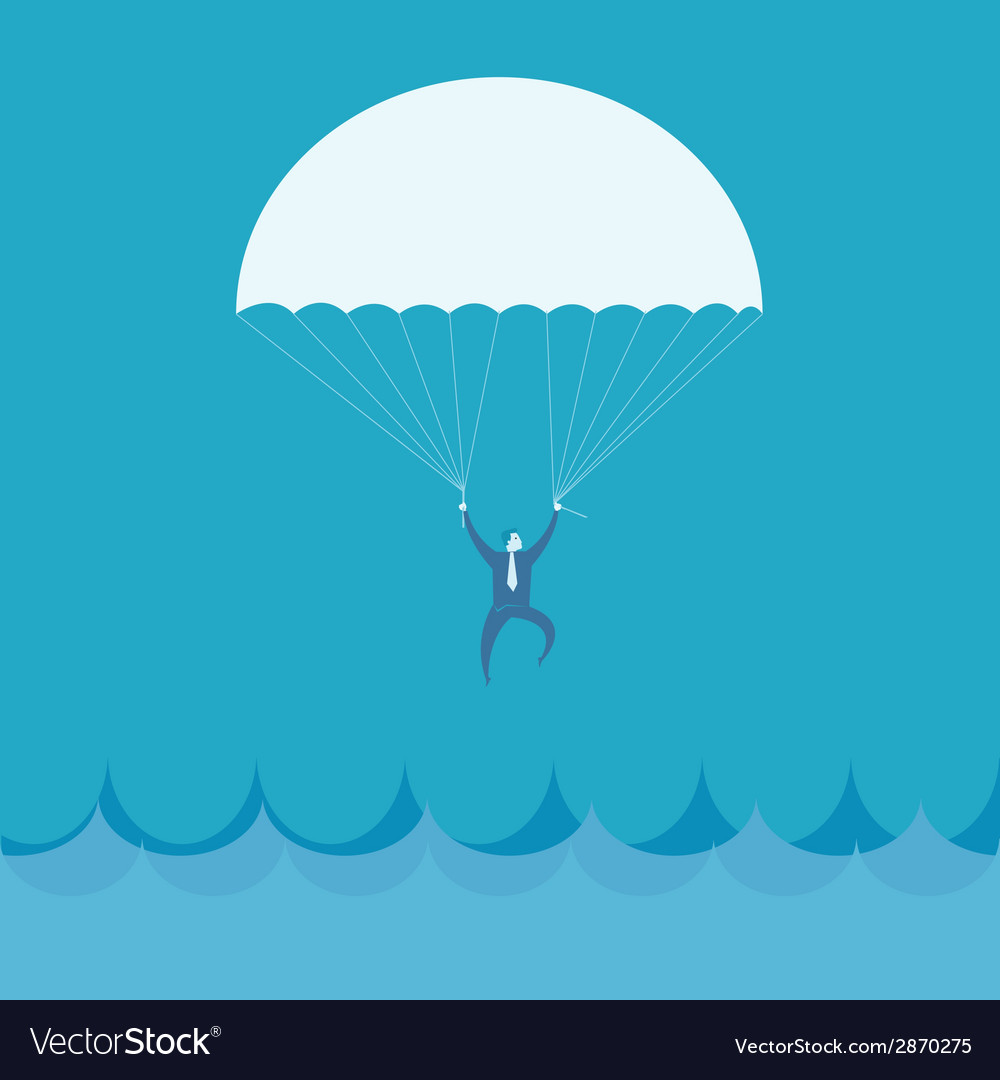 Businessman flying into the sea