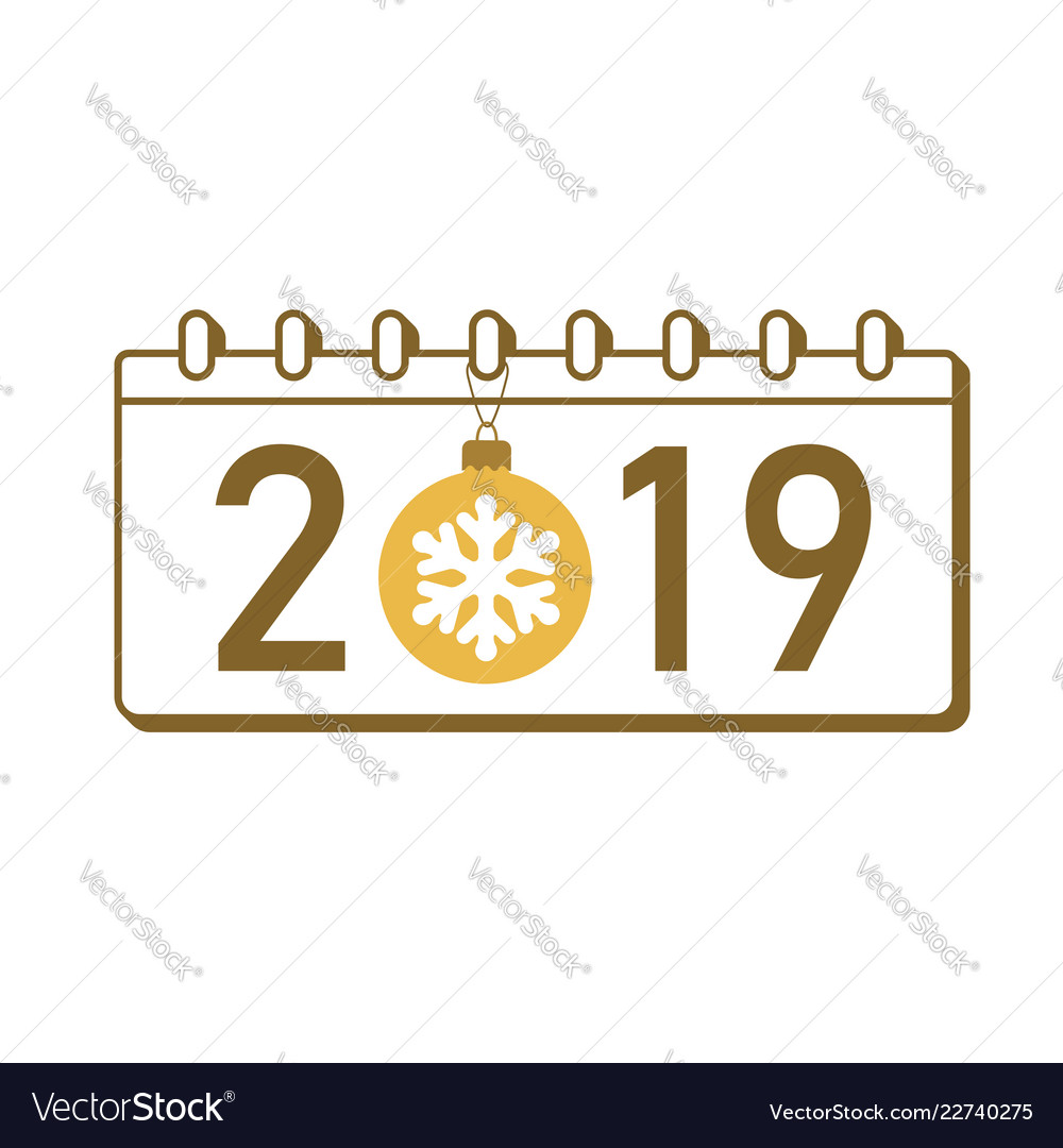 Calendar happy new year 2019 number isolated on