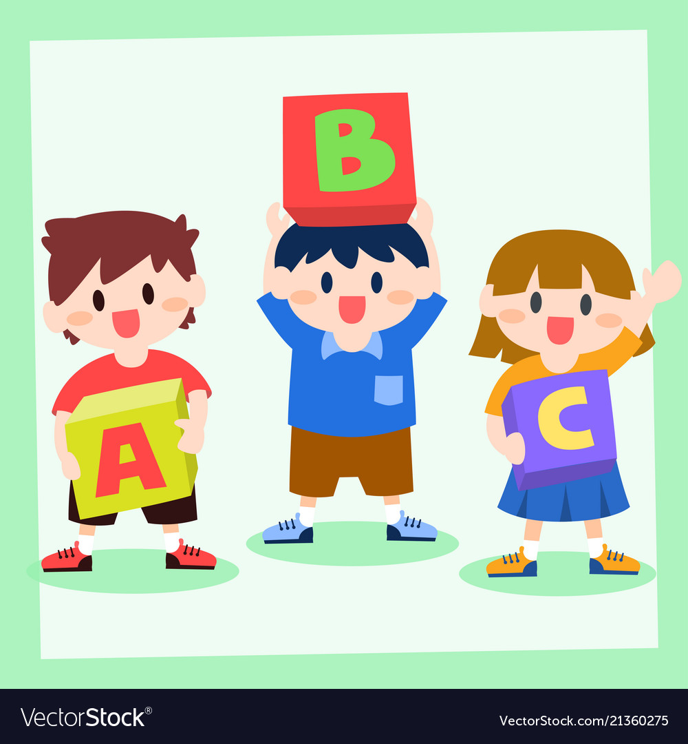 Children holding box of alphabet back to school