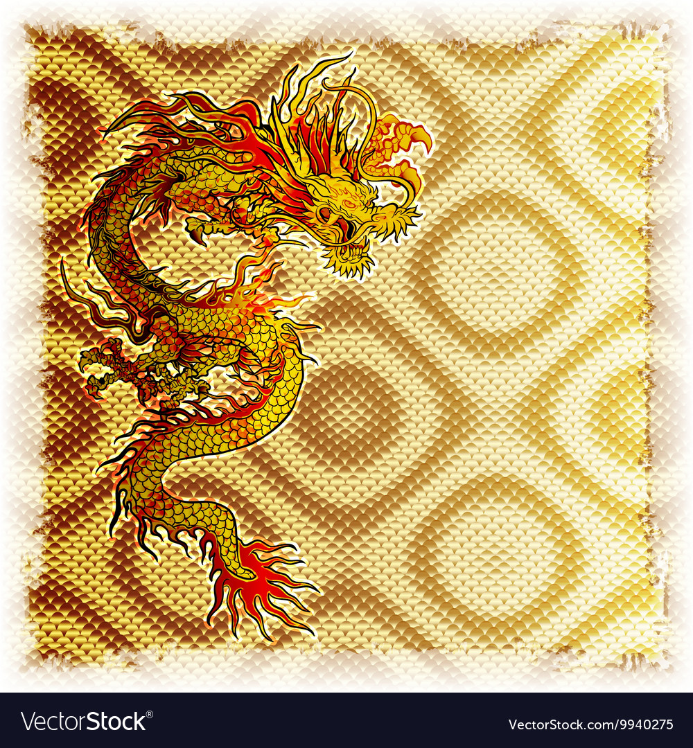 Chinese dragon on a gold background of the texture