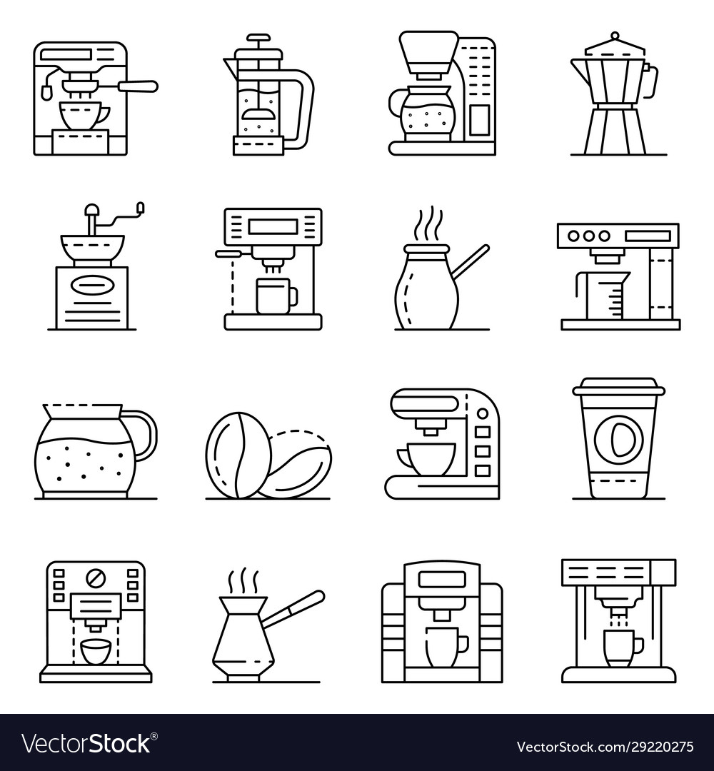 Coffee maker icons set outline style
