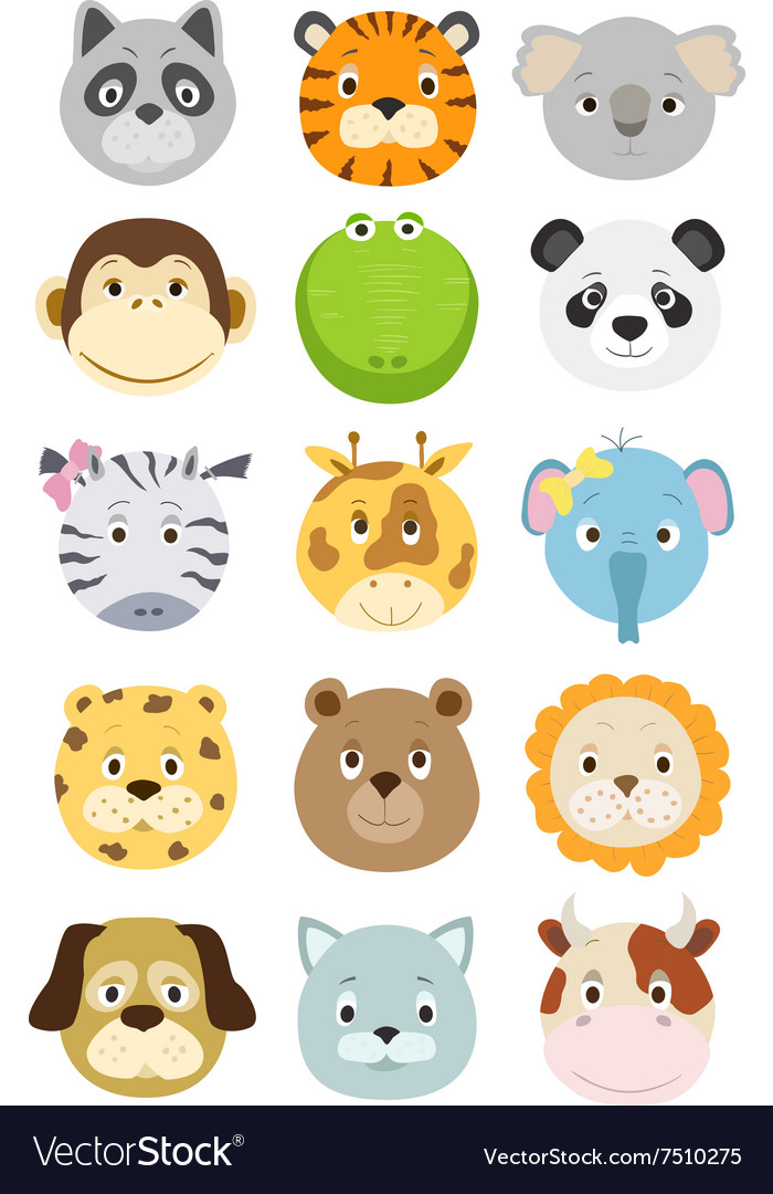 Cute cartoon animals faces set
