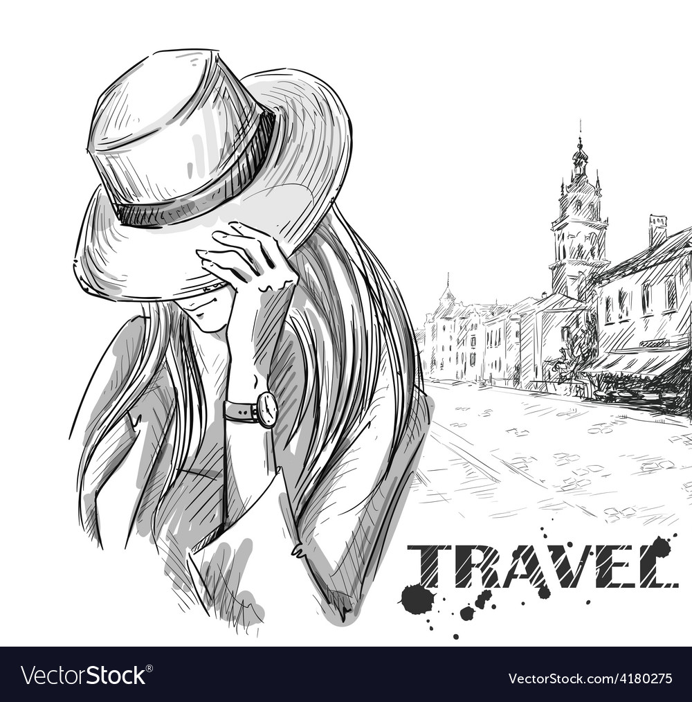 Girl on an old town background