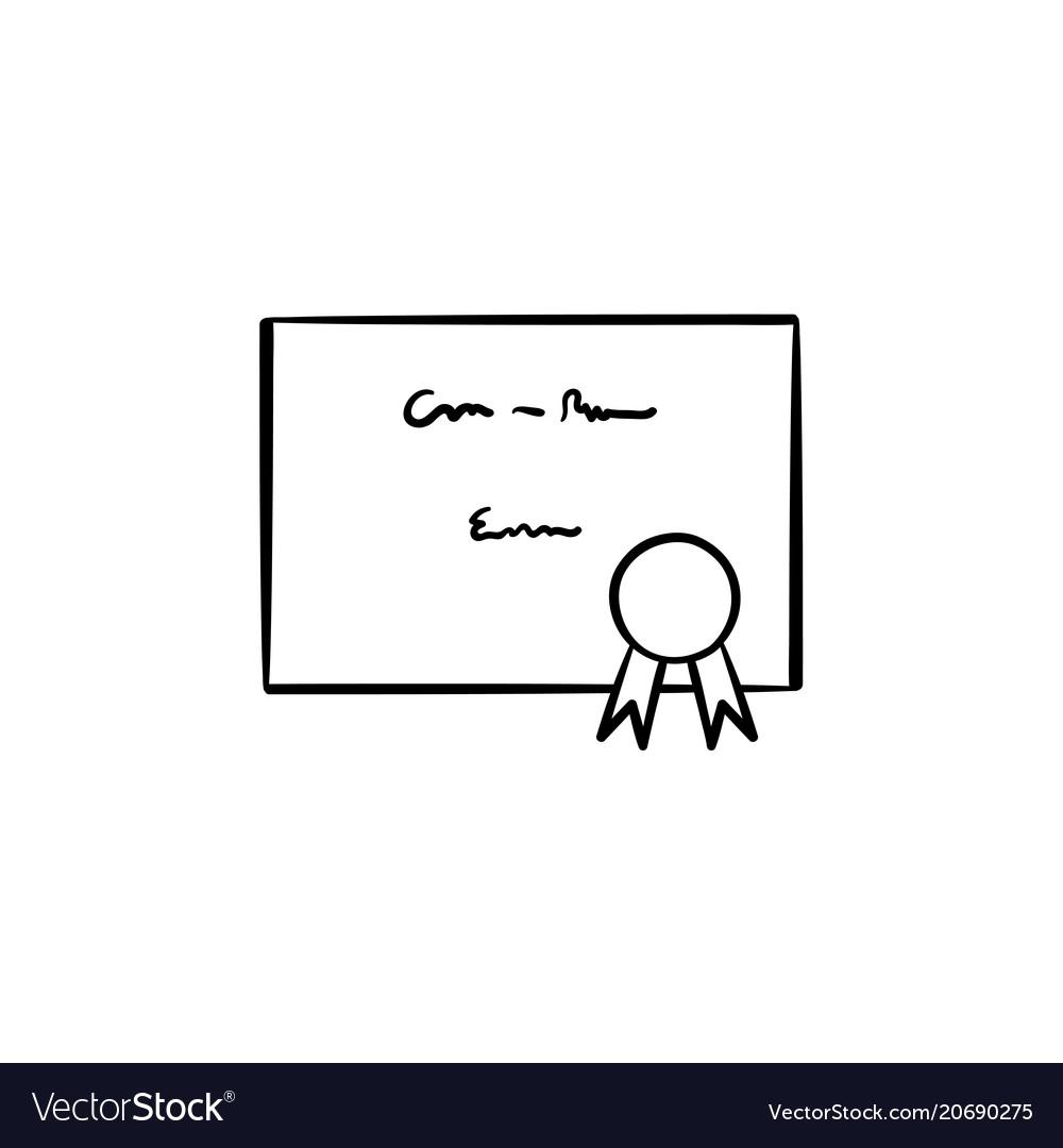 Graduation Certificate Hand Drawn Sketch Icon Vector Image
