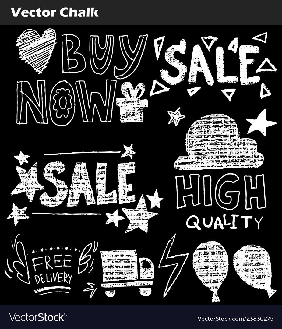 Hand drawn doodle sale lettering on chalkboard