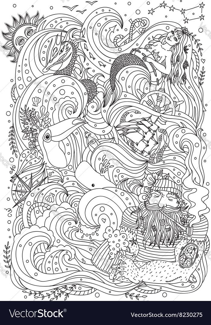 - Monochrome Sea Ornament For Adult Coloring Book Vector Image