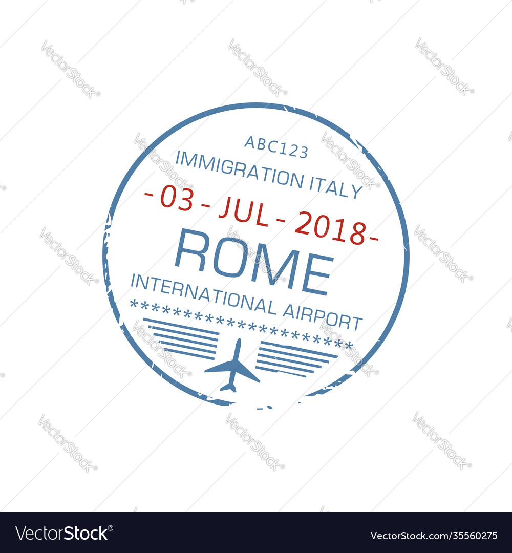 Rome international visa stamp isolated sign