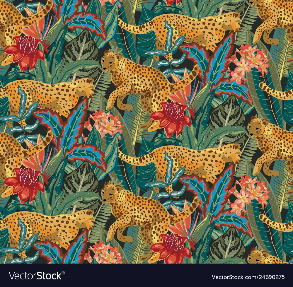 Seamless pattern with jaguars tropical