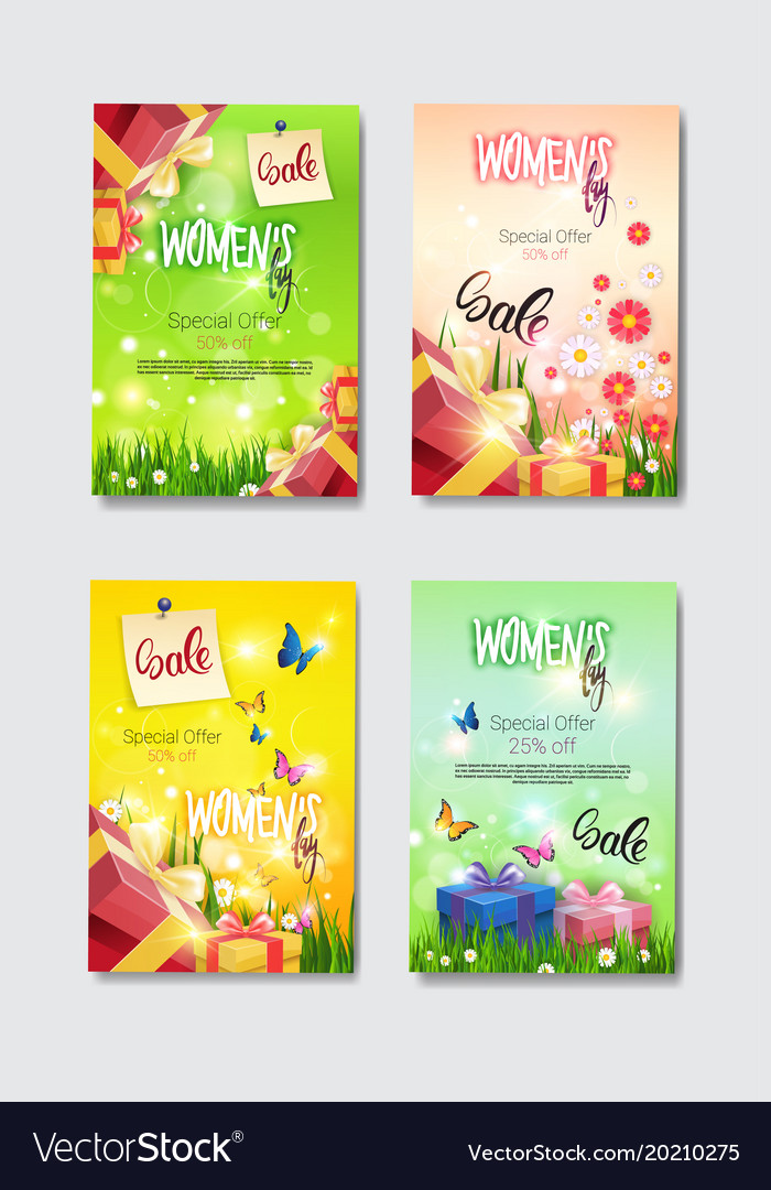 set of discount greeting cards international women vector image - Discount Greeting Cards