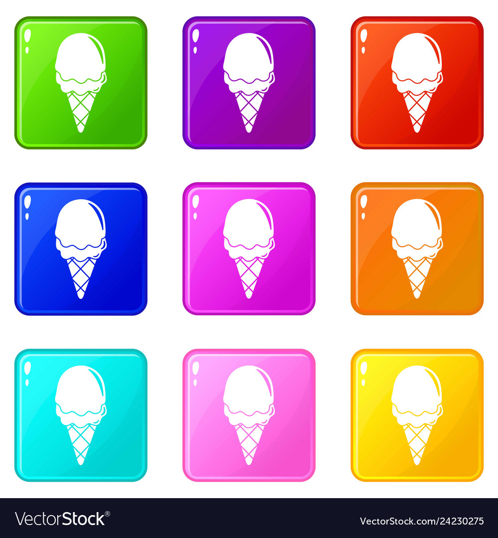Strawberry ice cream icons set 9 color collection
