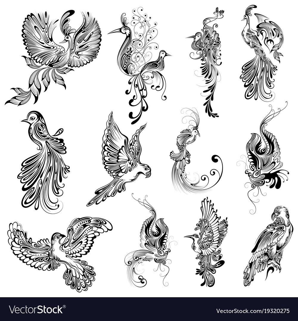 Tattoo art design bird collection