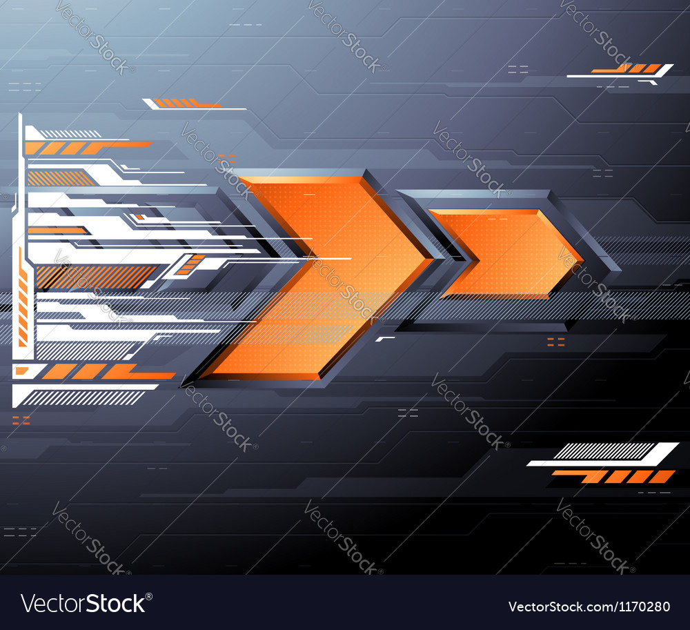 Abstract futuristic background with orange arrows