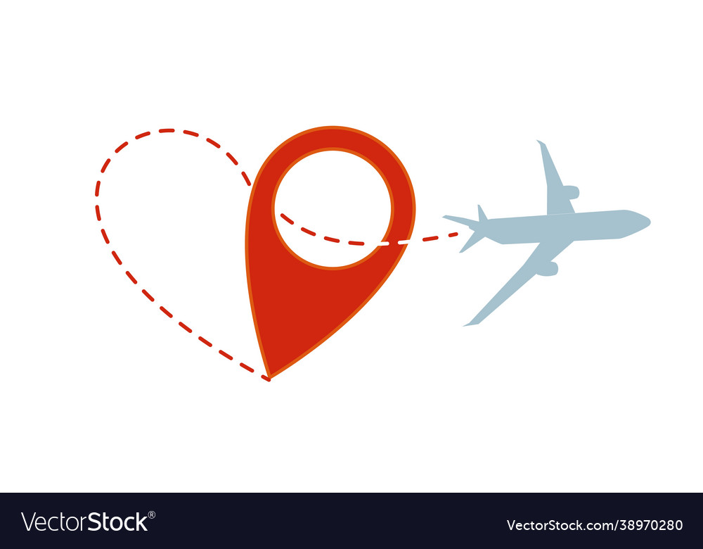 Air travel plane silhouette with heart path