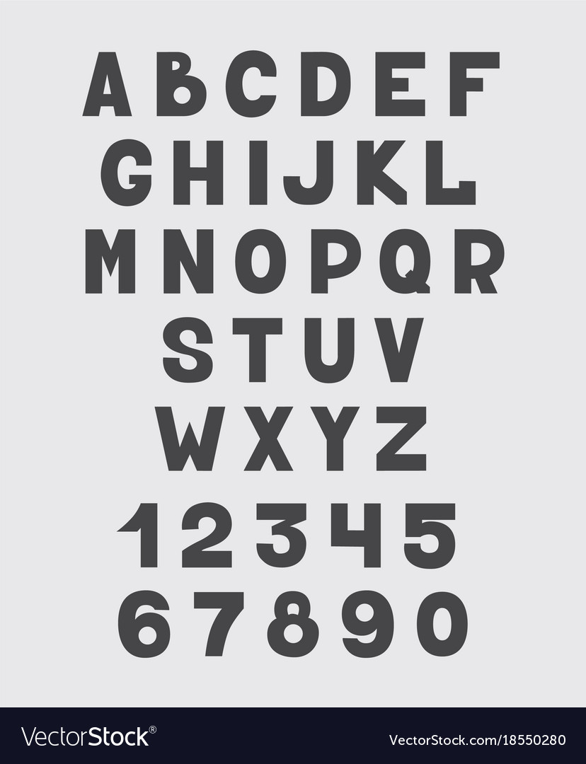 Alphabet design set numbers and letters