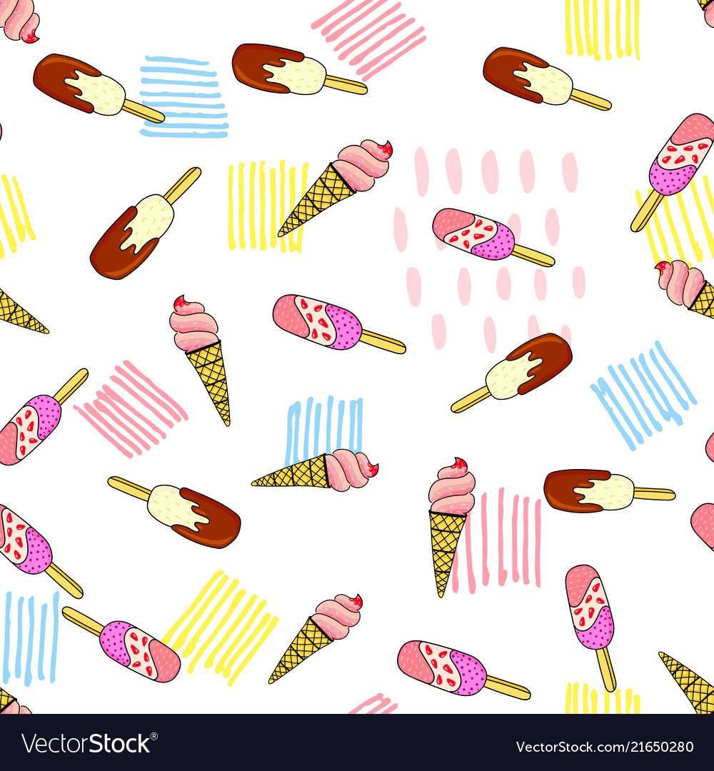 Assorted ice cream seamless pattern
