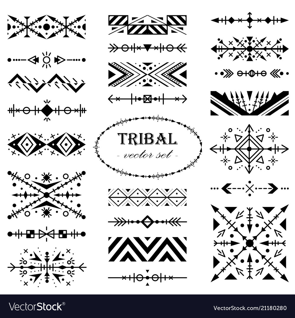 Black-and-white modern set brush in tribal style