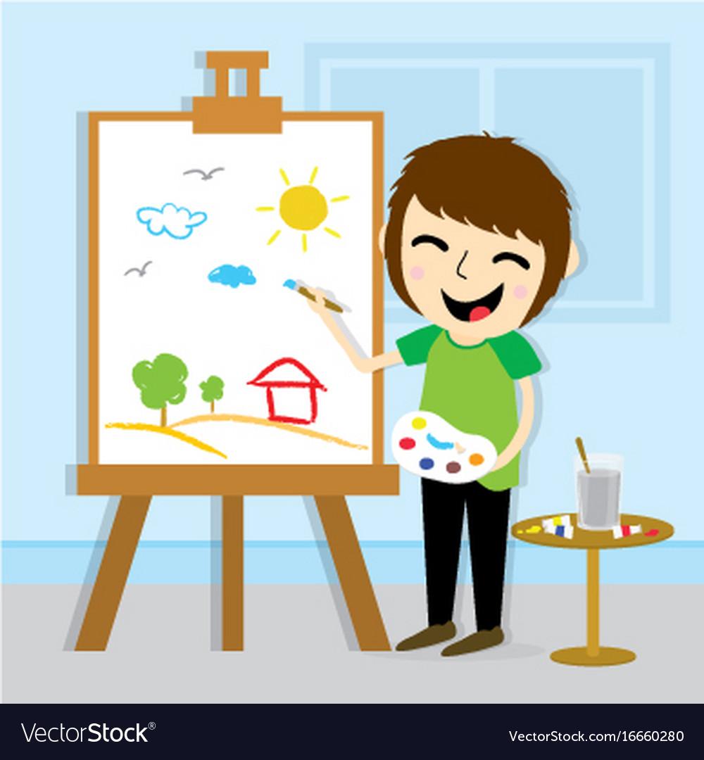 Boy artist drawing cute cartoon design