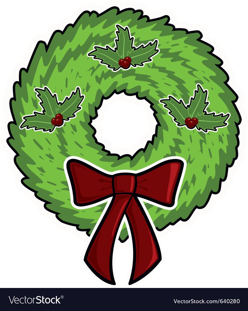 Cartoon Christmas Wreath Royalty Free Vector Image