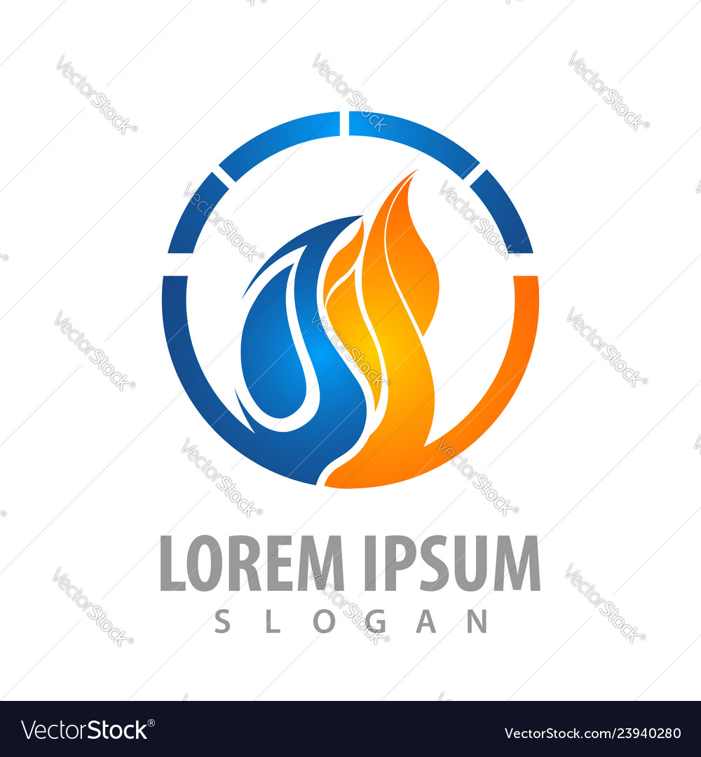 Circle water and fire logo concept design symbol