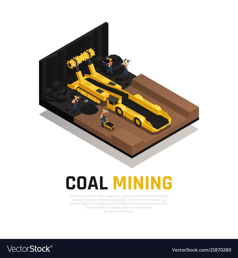 Coal mining isometric composition